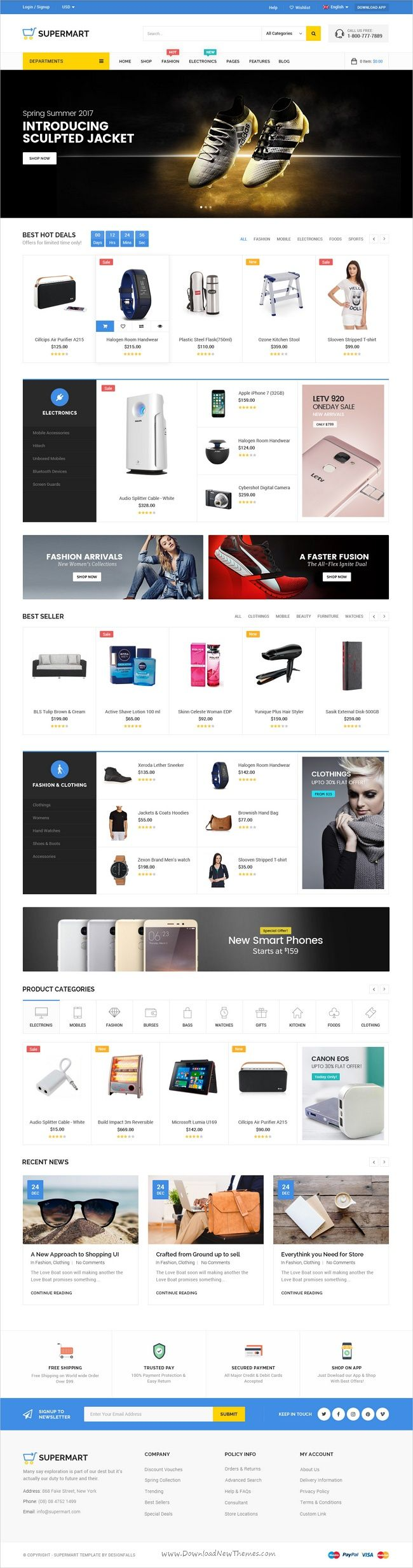 Supermart is a fresh and modern design #PSD #template for stunning #eCommerce websites with 3 unique homepage layouts and 25 organized PSD pages download now➩  https://themeforest.net/item/supermart-fresh-multipurpose-ecommerce-psd-template/19291181?ref=Datasata