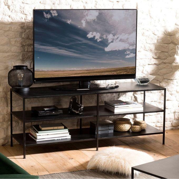 Meuble Tv Droit 140cm Style Industriel Metal Noir 3 Niveaux Liverpool En 2020 Meuble Tele Industriel Meuble Tv Metal Noir