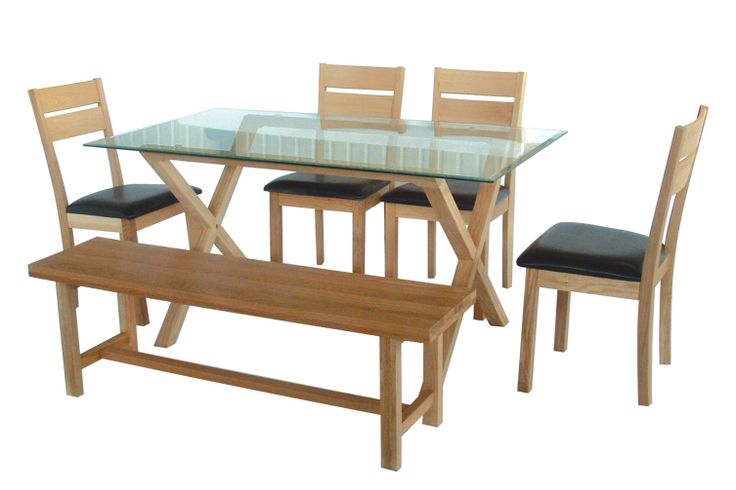 Cadiz Table  With metal disc fastening and bevelled edge glass. Thickness of glass 8mm.  Size: L1520mm x W860mm x H760mm (Shown with Oakland Bench below and Amber Chairs)
