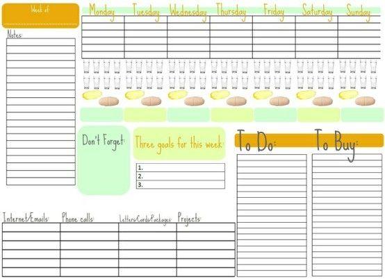 weekly organizer - cute and clean--would look cute under plastic sheet on fridge (printable) by mavis
