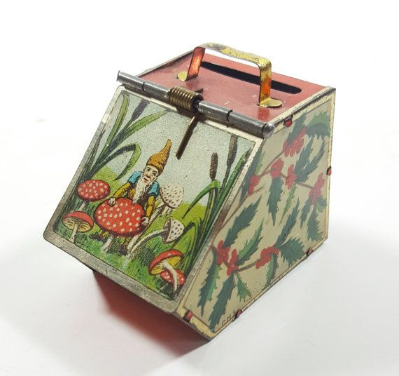 Antique German Vintage Tin Coin Bank with by ElysianVintageMN