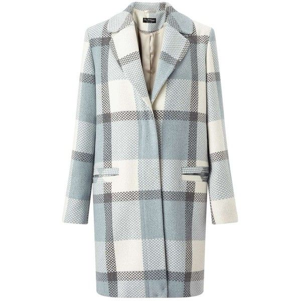 Miss Selfridge Blue Check Slouchy Coat ($90) ❤ liked on Polyvore featuring outerwear, coats, coats & jackets, miss selfridge, pale blue, slouchy coat, miss selfridge coats and slouch coat