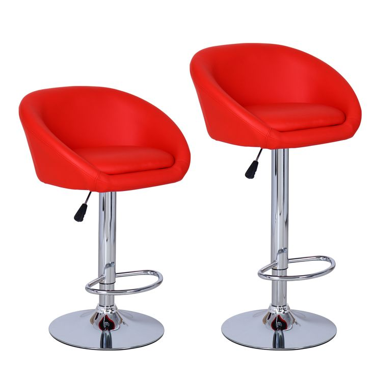 Furnistar Red Bar Stools (Set of two)