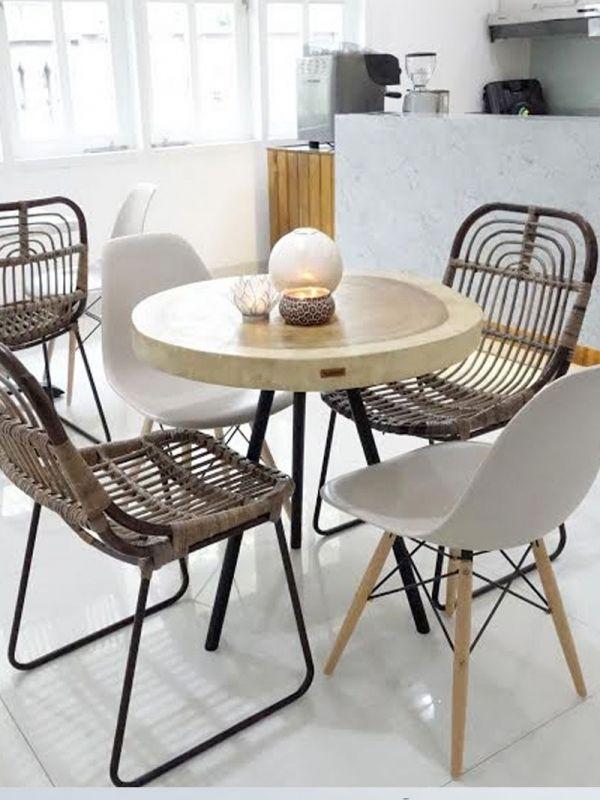nagarey | Products - Meja - Peralta Round Table - White Bone x Black
