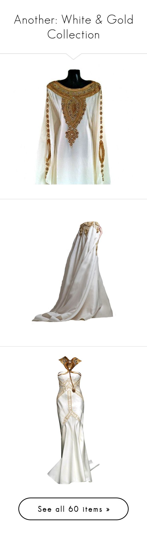 """""""Another: White & Gold Collection"""" by nikki-kersey ❤ liked on Polyvore featuring tops, tunics, abaya kaftan, long white tunic, long kaftan, long sleeve tunic, embellished tunic, dolls, dresses and gowns"""