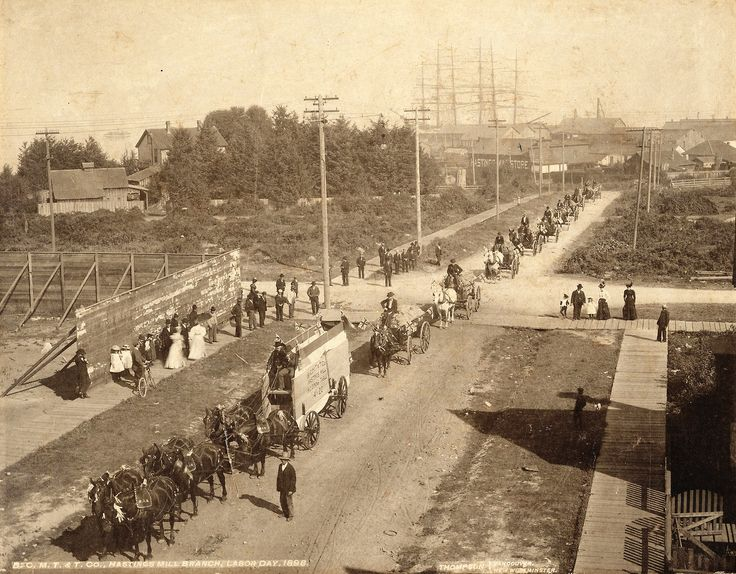 Labour Day parade, 1898  Parade heading north on Dunlevy at Alexander Street from Hastings Mill.  Source: Photo by SJ Thompson, City of Vancouver Archives #Str P243