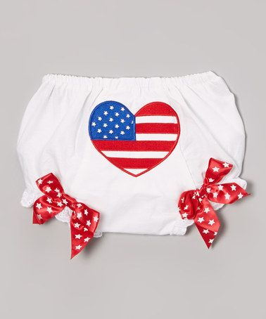 This Red & White American Flag Ruffle Diaper Cover - Infant by Under The Hooded Towels is perfect! #zulilyfinds