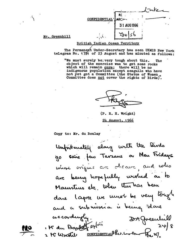 "British Diplomatic Cable signed by D.A. Greenhill, dated August 24, 1966, relating to the depopulation of the Chagos Archipelago stating ""Unfortunately along with the birds go some few Tarzans or Men Fridays."", British Indian Ocean Territory"