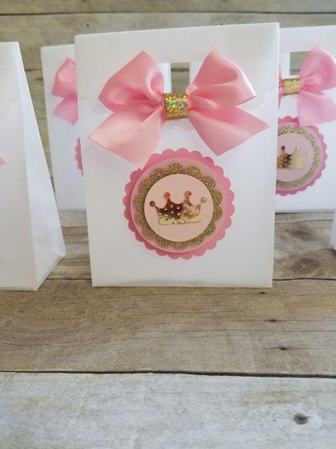 Fiesta de rosa y oro Favor partido princesa por HeidiPartyCreations