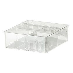 GODMORGON Box with compartments - IKEA - $18.00, but I don't think it's that pretty. I may see what e.l.f. has online or see what Michael's or AC Moore have...