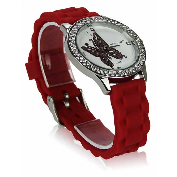Dámské červené hodinky s platovým řemínkem. Průměr 4 cm, hodinový strojek: Quartz. Střední velikost.