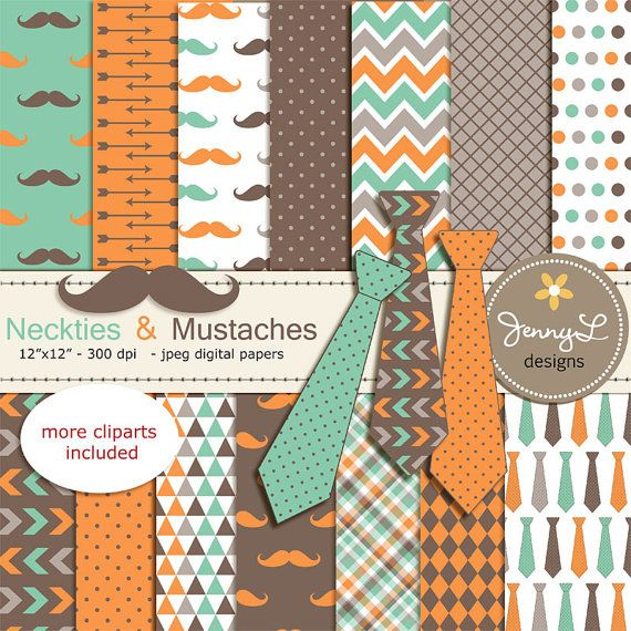 Necktie and Mustache Digital Papers Little by JennyLDesignsShop