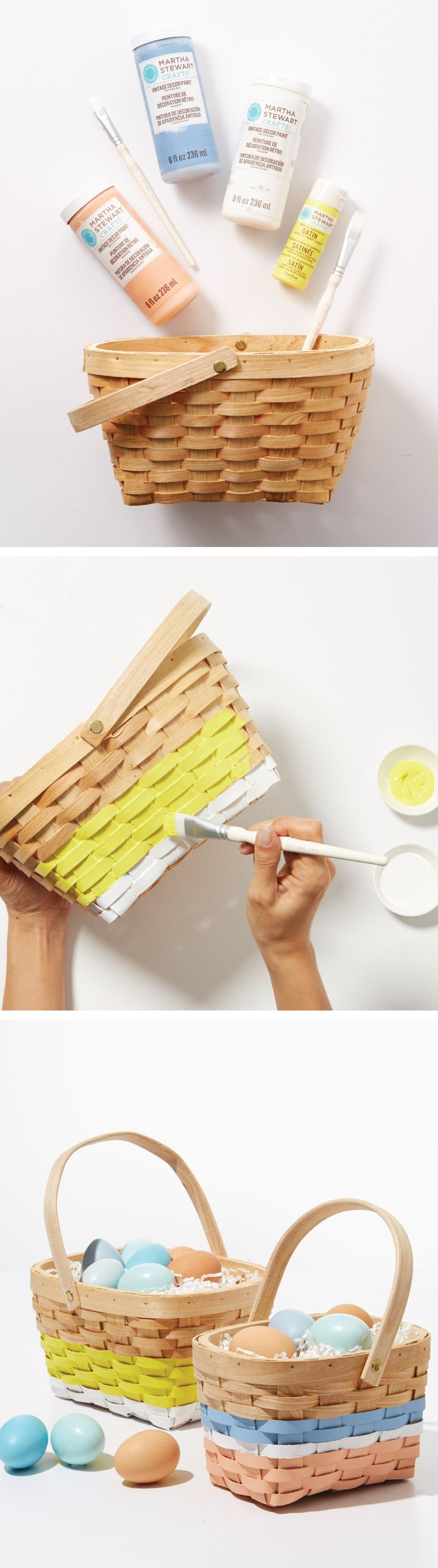 These woven baskets upgraded with a fun splash of color are a DIY no brainer! #MarthaStewartCrafts