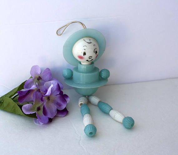 Crib Toy Baby Boy  Vintage Blue Plastic Articulated Man w/