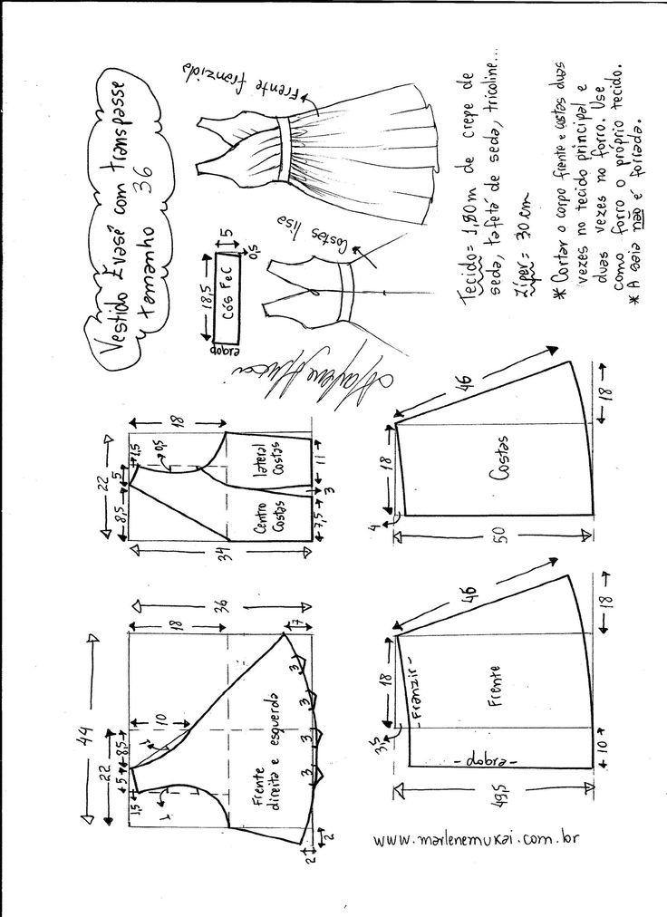 Esquema de modelagem de vestido evasê com transpasse tamanho 36.