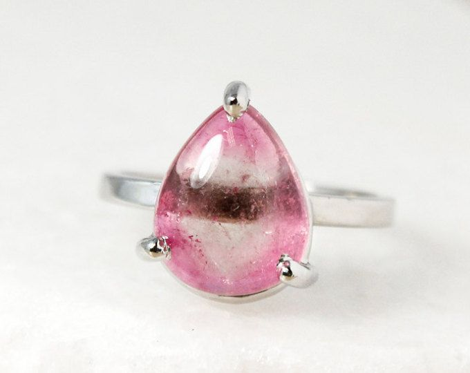 Silver Light Pink Tourmaline Teardrop Ring - Choose Your Setting - October Pink Tourmaline