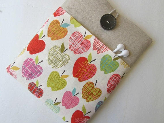 iPad sleeve - great teacher's gift in the apple print.  From Bertie's Closet on Etsy