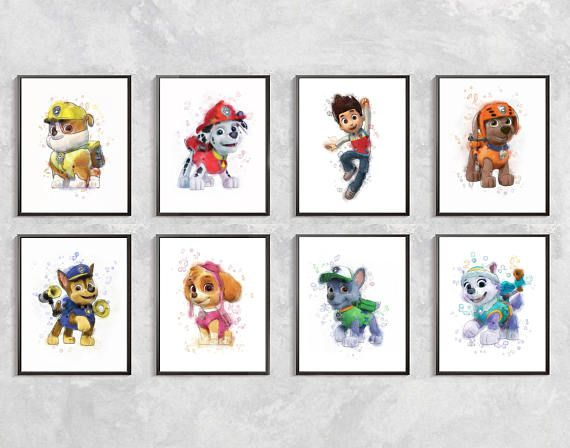 Paw Patrol Print, Set Paw Patrol Watercolor, Paw Patrol Birthday Party, Paw Patrol Wall Decor, Chase Print, Paw Patrol Kids Room Decor This listing includes only JPG file! Not a physical drawing! You can print in Size: 11X14 inches (28X35.5 cm) or 8X10 inches (20X26 cm) Resolution: