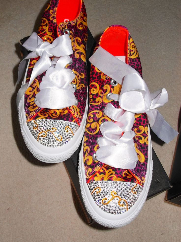 One of my latest pairs of Cons looking dazzling. All thanks to Katie of Custom Crystals. Genuine Swarovski crystals.