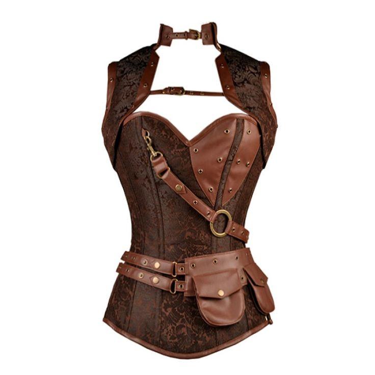 Corsé marrón  brocado steampunk con imitación de cuero marrón y bolsa extraíble