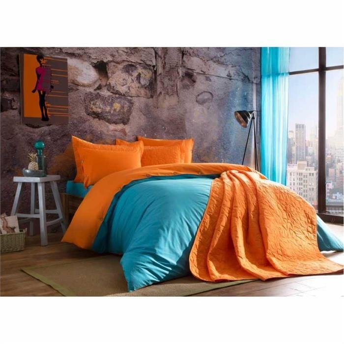 Taç Tek Kişilik Yatak Örtüsü - Picasa Turuncu