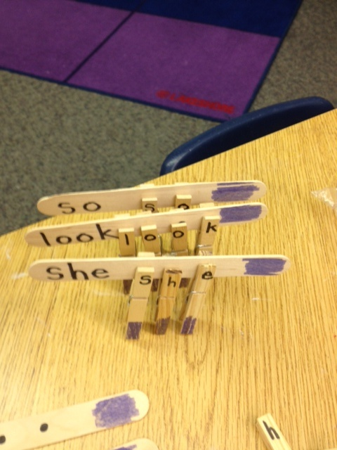 I can't wait to try this hands on sight word activity.  (This idea, from Ann Shep at Kinder Journey,  is free - grab some craft sticks and clothespins to build a set!)