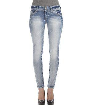 This WallFlower Jeans Blue Lexi Luscious Curvy Skinny Jeans - Long by WallFlower Jeans is perfect! #zulilyfinds