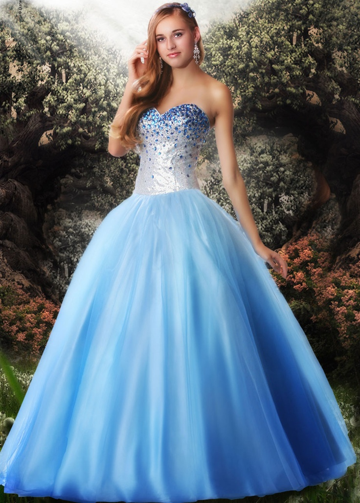 Find Disney Forever Enchanted 35538 silver and blue strapless prom dresses available now at RissyRoos.com.