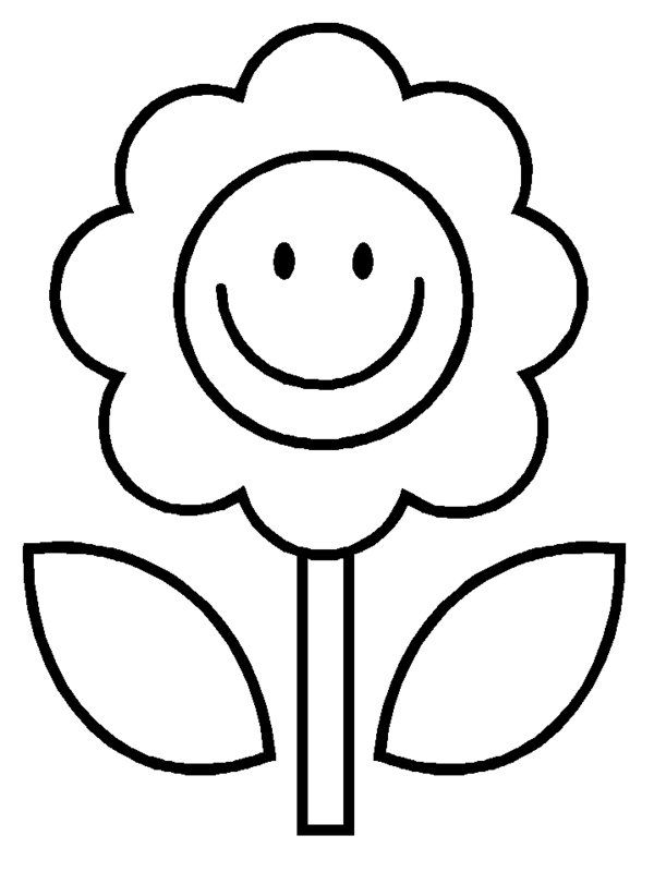 Cartoon Happy Flower Coloring Pages