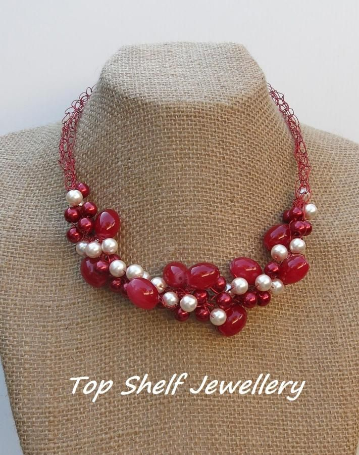 Red And Pearl Crochet Wire and Beaded Necklace - Jewelry creation by Top Shelf Jewellery & Accessories