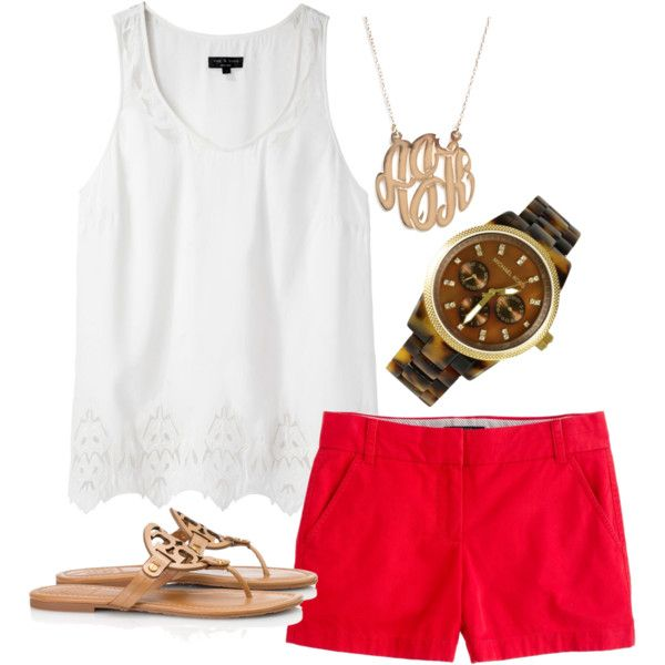 Red shorts, white top. Essential for summer. or any colored shorts with white.