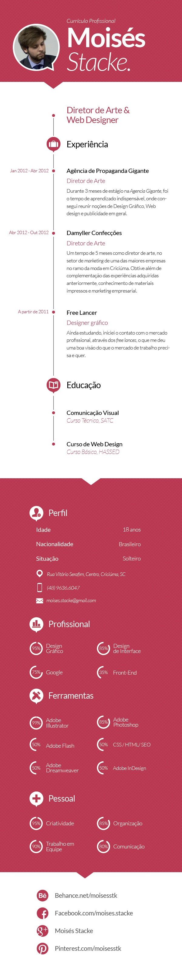 Curriculo by Moisés Stacke, via Behance