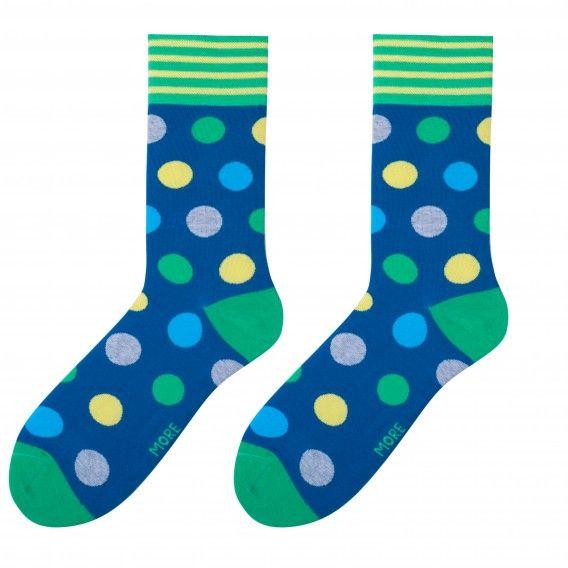 Pánske farebné  bavlnené ponožky v tmavo modrej farbe so zelenými guličkami
