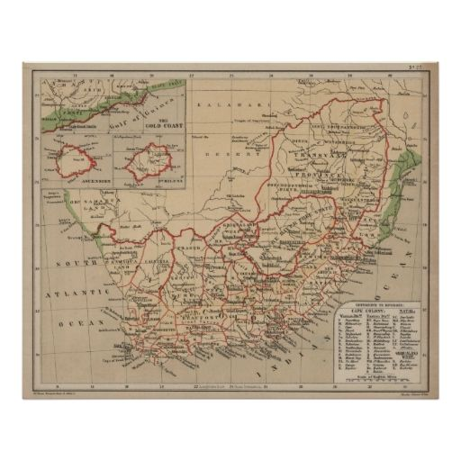Vintage Map of South Africa (1880) Poster