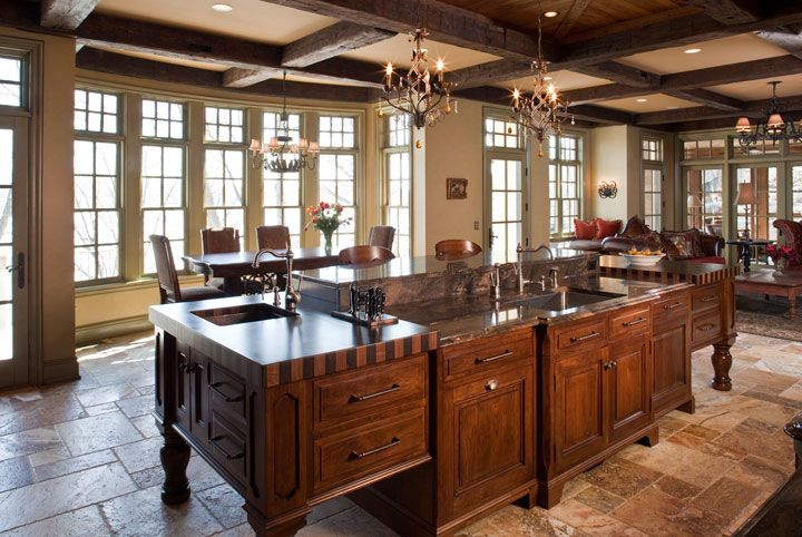Vintage-French-Inspired-Kitchens-Walnut-Kitchen-Island-Beams-Ceiling.jpg (720×482)