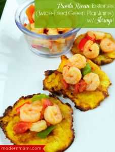 Puerto Rican Tostones Recipe, Served with Shrimp