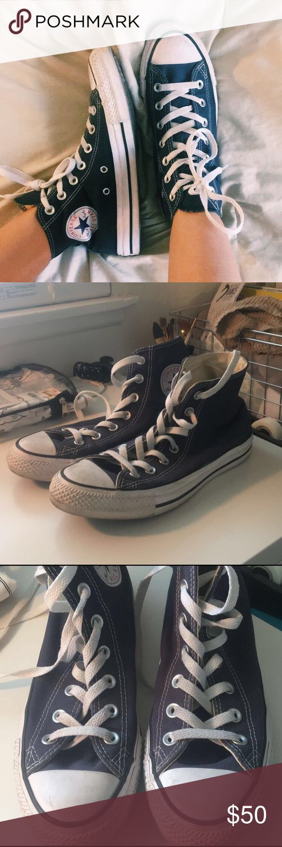 High top navy blue converse High top navy blue converse only worn twice. A little messed up but barley noticeable. Super cute with high waisted shorts in the summer! Converse Shoes