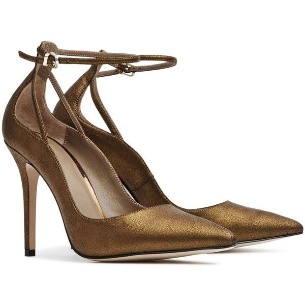 Reiss Leighton Metallic Suede Ankle Strap Pumps (3,780 EGP) ❤ liked on Polyvore featuring shoes, pumps, metallic shoes, reiss, metallic pumps and reiss shoes