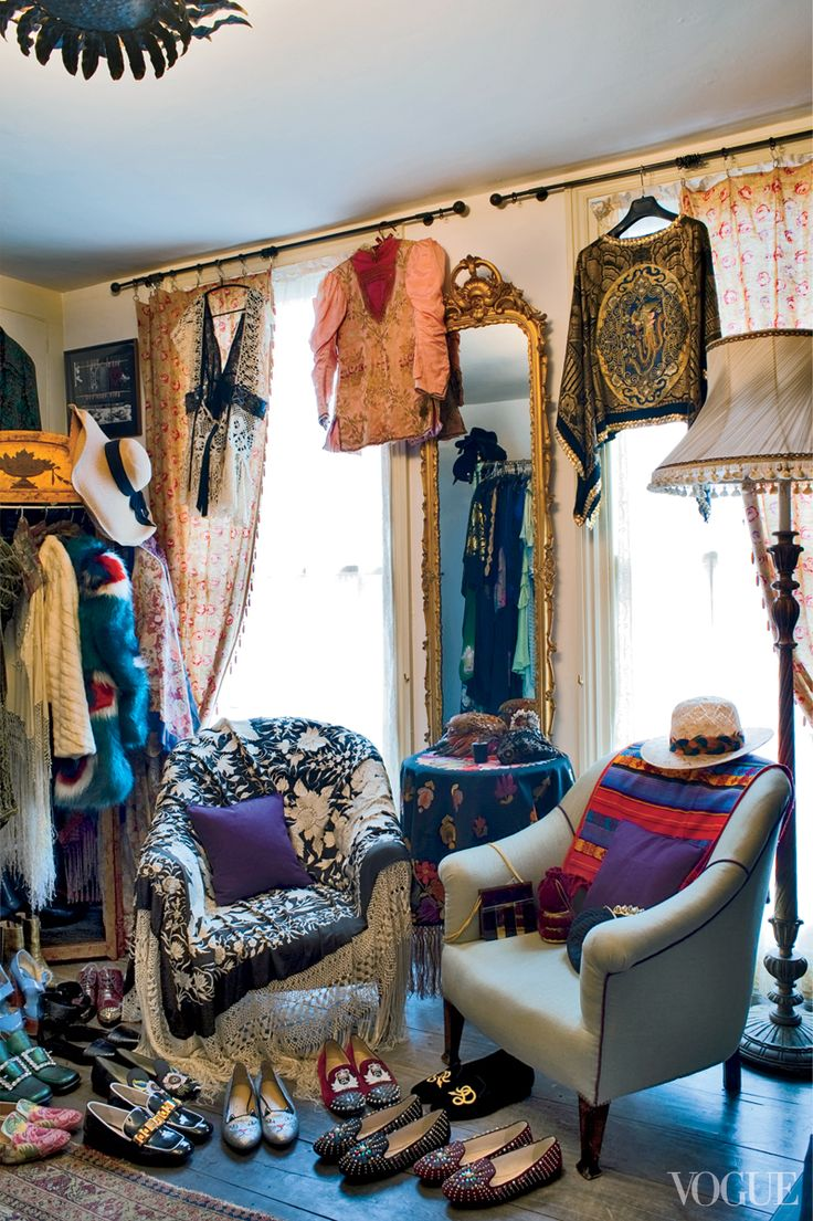Florence Welch devotes an entire floor of her London home to her ever-expanding clothing collection where racks heave with vintage velvet cloaks, ermine capelets, and spangled frocks | Photographed by Angelo Pennetta for Vogue, May 2013