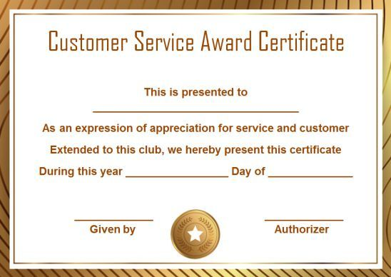 customer service award certificate  10 templates that give