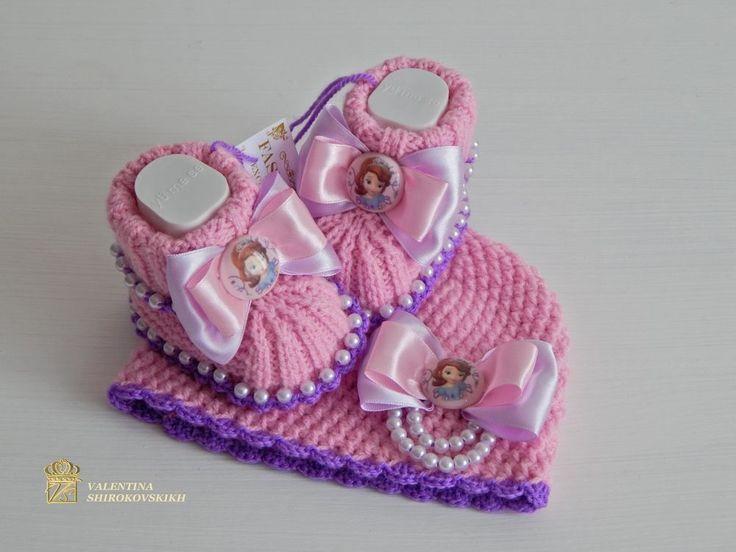 ручной вязаная крючком шапочка и Baby booties.sofia первый моду, ДЕТКА, Disney in Одежда, обувь и аксессуары, Одежда для малышей, Одежда для девочек (новорожденные-5Т) | eBay