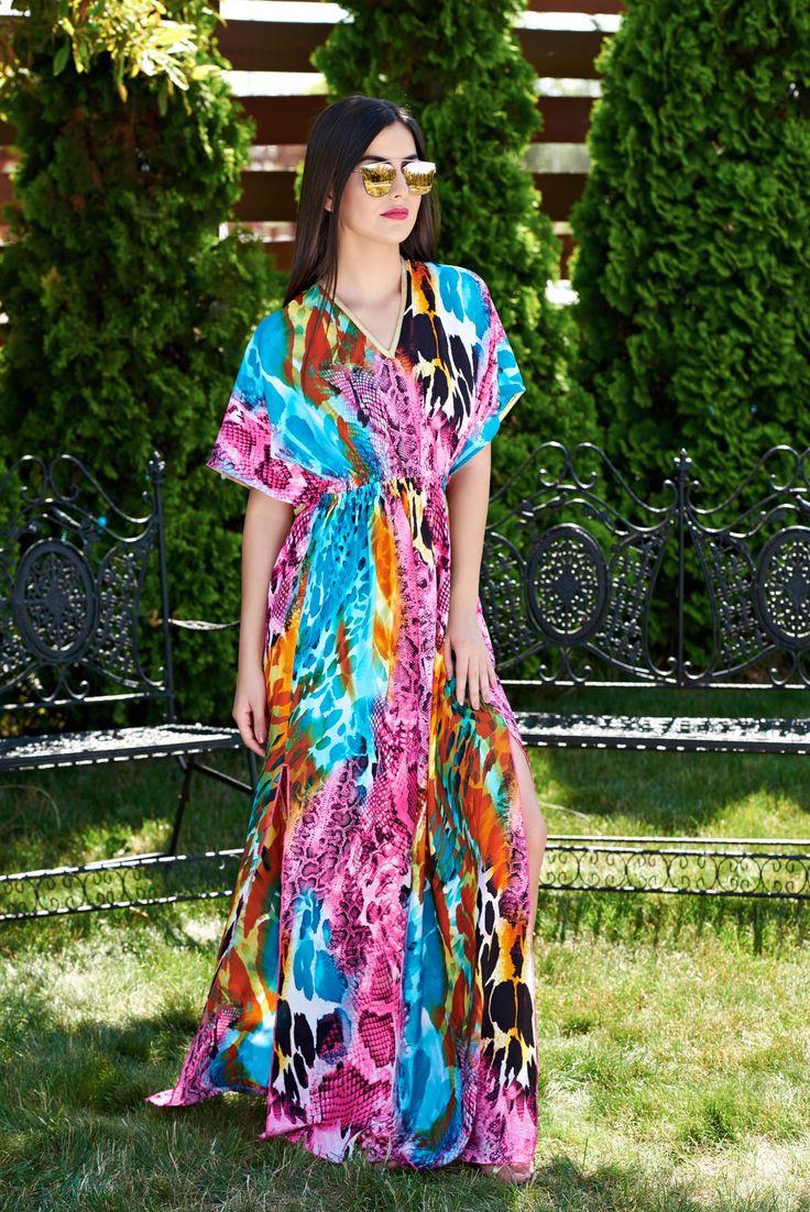 Rochie MissQ Diva Look Pink. Rochie MissQ lunga si vaporoasa, cu imprimeu, are elastic in talie.