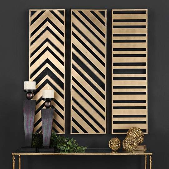 Uttermost zahara 3 panel 45 high metal wall art set