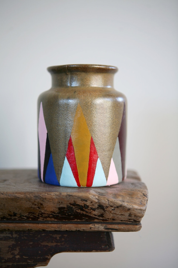 Hand Painted Up-Cycled Vase. $18.00, via Etsy.