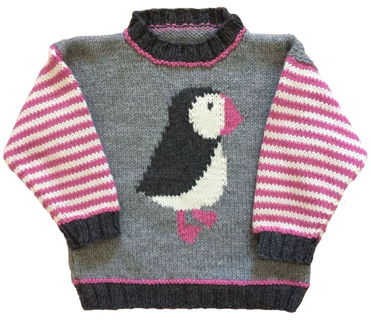 Puffin Pullover Knitting Pattern by RooDesignsForKids on Etsy