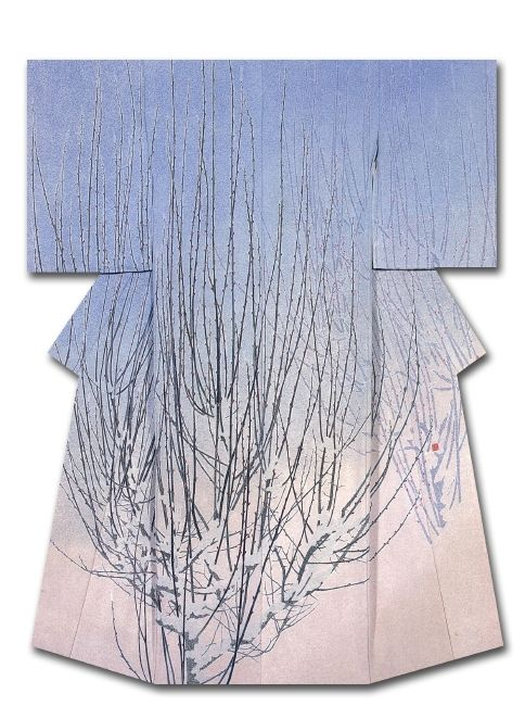 Silk kimono created by Uemura Beikasame. Winner of the Culture, Sports, Science and Technology Minister's Award at the 31st Annual Meeting of the Japanese textile artist Exhibition award . Japan