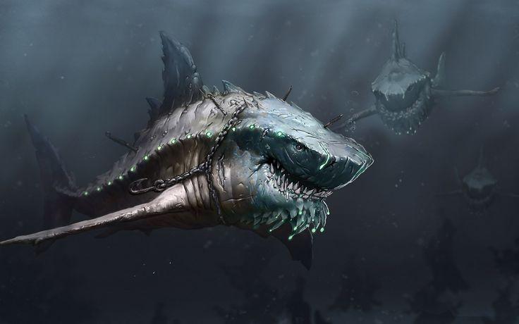 Drawn Deep Sea Shark Monster HD Wallpapers Pinterest
