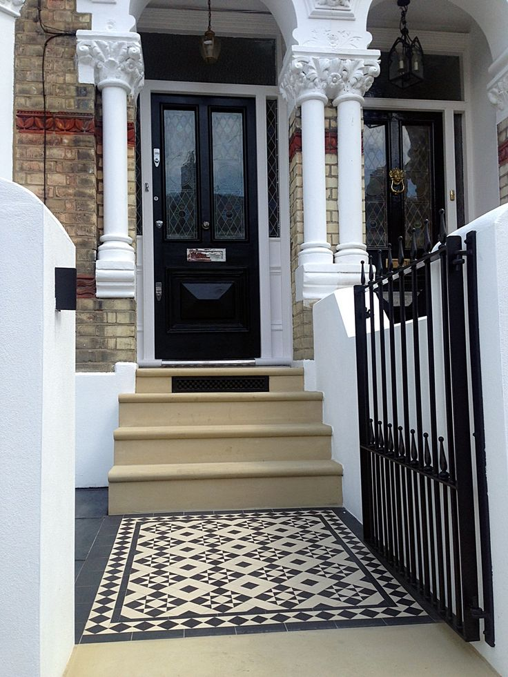 bull nose york stone steps daisy grate victorian mosaic tile path wrought iron rail and gate clapham london rendered painted garden wall (6)