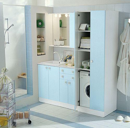 cute pinterest: hidden washing machine in bathroom | blue