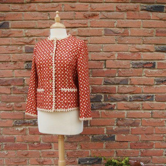 Chanel Style Jacket in Burnt Orange with Cream Braid Trim. $49.00, via Etsy.